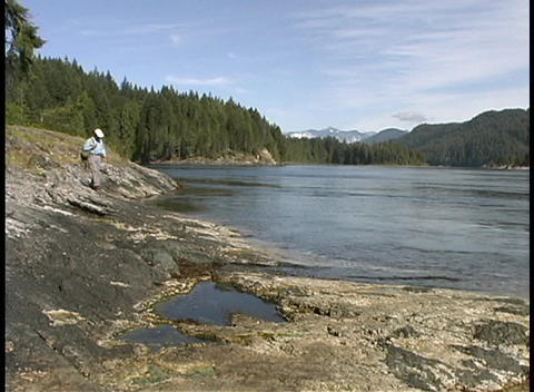 A hiker walks along the shoreline of the Olympic National... Stock Video Footage