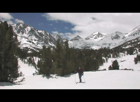 A skier stands holding his pole on a snow-covered mountain Stock Video Footage