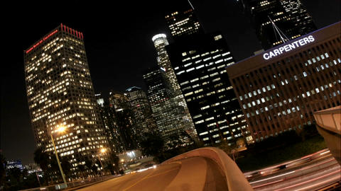 Time-lapse of Los Angeles city traffic with illuminated... Stock Video Footage
