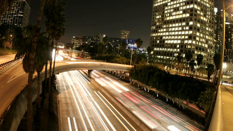 Time-lapse of Los Angeles city traffic on a downtown... Stock Video Footage