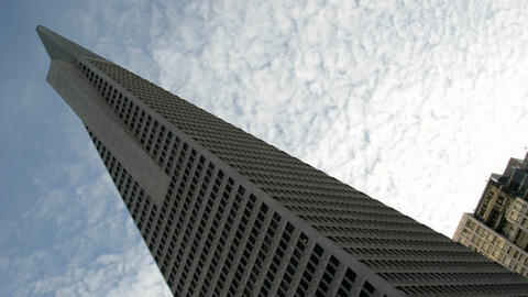 Thin white clouds stream above San Francisco's TransAmerica Building Footage