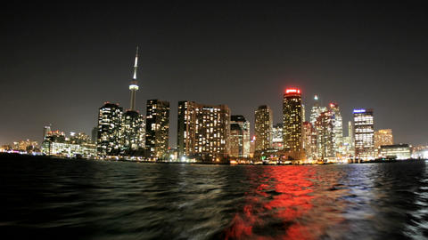 The bright Toronto skyline approaches in a time-lapse... Stock Video Footage