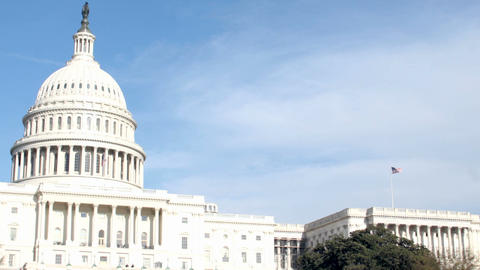 Clouds Pass Quickly Over The United States Capitol Building stock footage