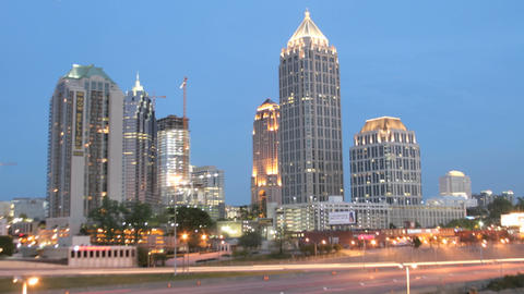 Lights illuminate downtown Atlanta, Georgia as the... Stock Video Footage