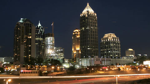 Lights illuminate downtown Atlanta, Georgia as the... Stock Video Footage