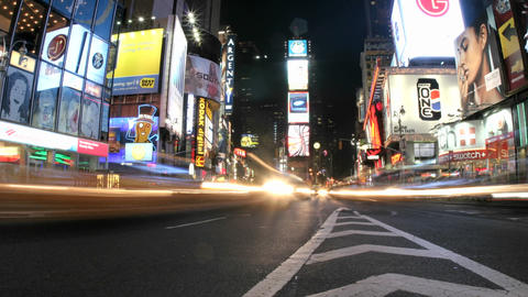 An accelerated view of New York's Times Square results in a frenzy of flashing lights Footage