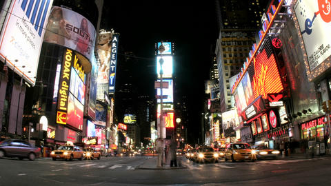 An accelerated shot of New York's Times Square results in a frenzy of flashing lights Footage