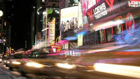 Accelerated traffic moves past billboards in New York's... Stock Video Footage