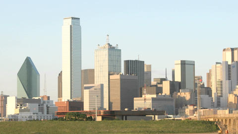 Slow pan of the Dallas skyline Stock Video Footage