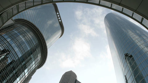 Slow upward pan of the Houston Oil Company Buildings seen... Stock Video Footage