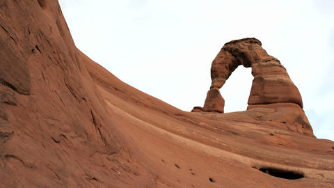 Delicate Arch in Utah's Arches National Park crowns the... Stock Video Footage
