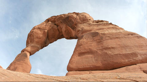 Worm's-eye view of Delicate Arch in Utah's Arches... Stock Video Footage