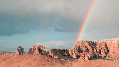 A double rainbow fades until only one remains Footage