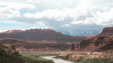 Storm clouds settle over the Colorado River in Glen... Stock Video Footage
