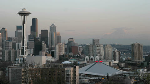 The Seattle Space Needle stands on the left of this... Stock Video Footage