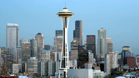 The Seattle Space Needle stands at the center of this... Stock Video Footage
