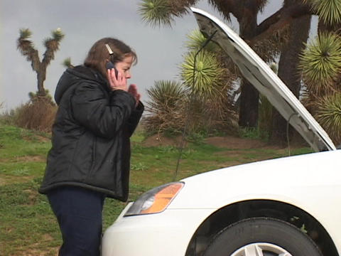 A woman talks on her cell-phone as she looks under the... Stock Video Footage