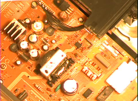 A circuit board comes into focus Stock Video Footage