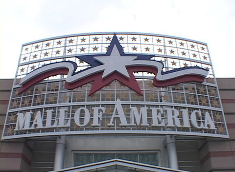 The marquee for the most visited mall in the world, Mall of America, is featured in this clip Footage