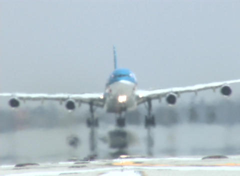 A jet takes off from an airport runway Footage