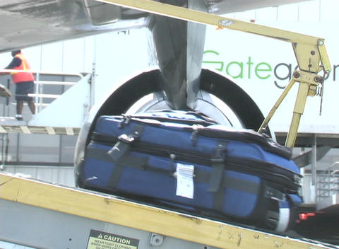 An airline employee unloads cargo from a conveyor belt Footage