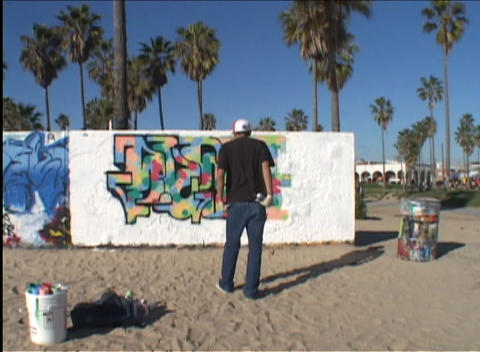 Time Lapse Of An Artist Painting One Panel Of An Outdoor Mural On A Sandy Beach As Observers Come An stock footage