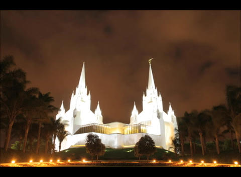Clouds pass over the twin spires of the LDS temple in San... Stock Video Footage