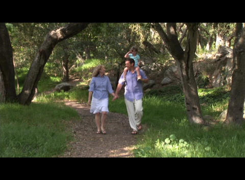 Medium shot of a family walking through the forest Stock Video Footage