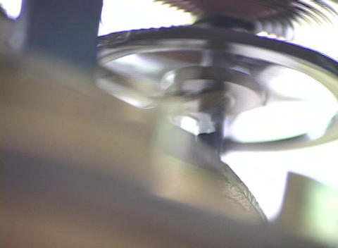 Close-up of the moving flywheel and inner workings of a... Stock Video Footage