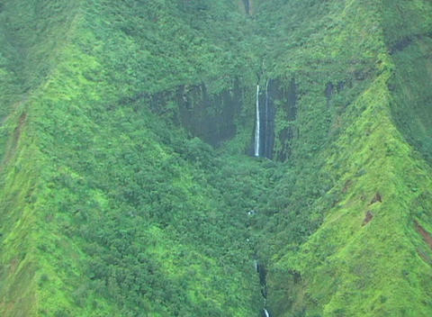 Aerial view of lush vegetation covering a deep valley and... Stock Video Footage
