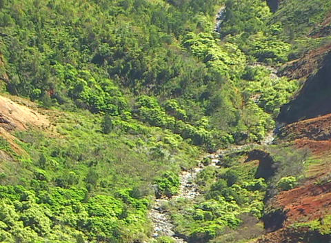 Camera zooms out on volcanic region where a stream and... Stock Video Footage