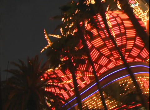 Tracking shot showing the facade of The Flamingo Hotel... Stock Video Footage