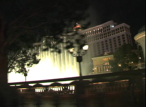 Tracking shot highlighting the beautiful fountains of the... Stock Video Footage