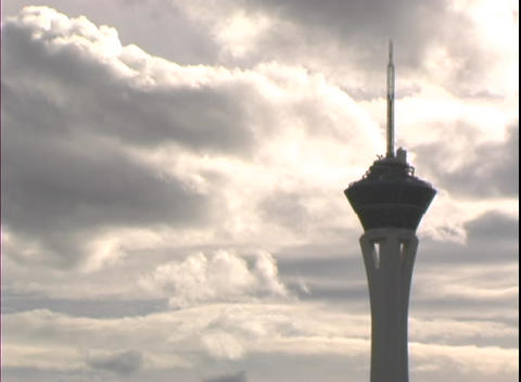 Time-lapse shot highlighting the Stratosphere Hotel and... Stock Video Footage