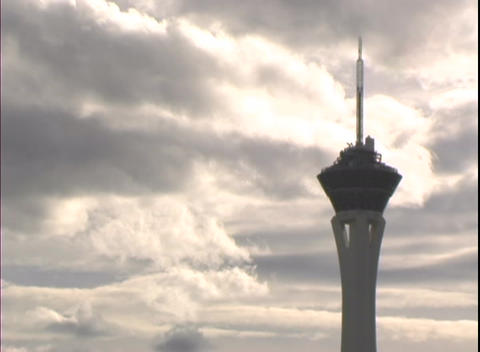Time-lapse shot highlighting the Stratosphere Hotel and Casino in Las Vegas Footage