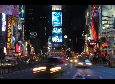 An accelerated shot of people and traffic moving through... Stock Video Footage