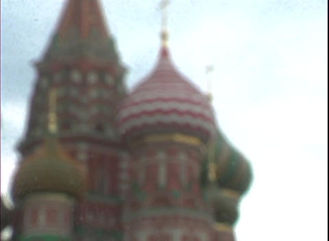 Colorful onion domes top St. Basil's Basilica in Moscow,... Stock Video Footage