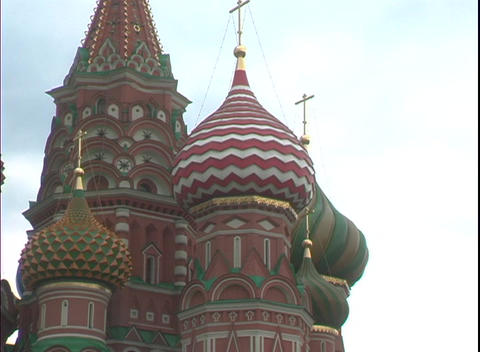Colorful onion domes top St. Basil's Basilica in Moscow, Russia Footage