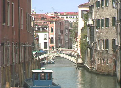 Apartment buildings line either side of the Grand Canal... Stock Video Footage