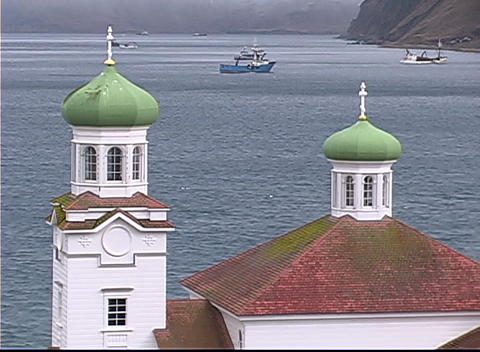 Beautiful towers on a building overlook the ocean Stock Video Footage