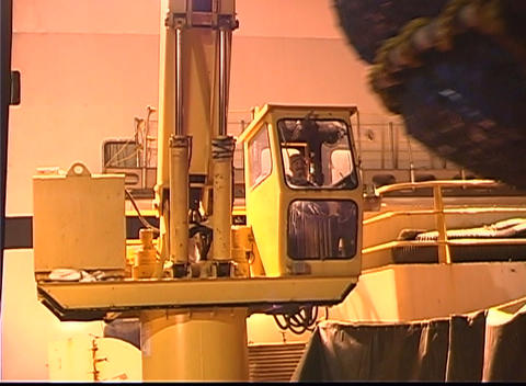 A large crane sits empty in a factory Stock Video Footage