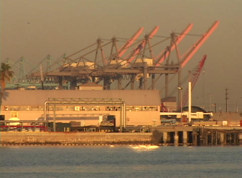 Medium shot of large cranes standing in a container port Footage
