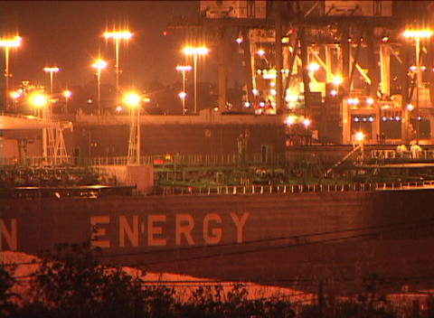 Medium shot of a large oil tanker ship Stock Video Footage