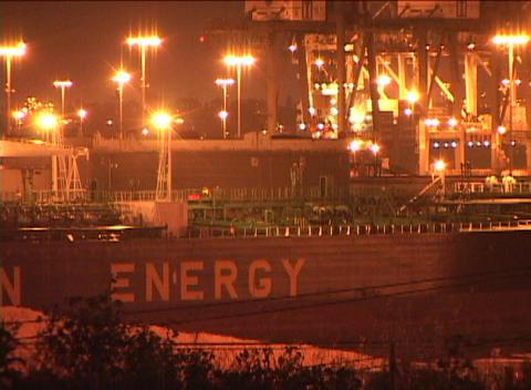 Medium shot of a large oil tanker ship Footage