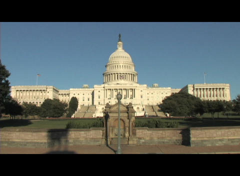 Long-shot of the United States Capitol building in Washington, DC Footage