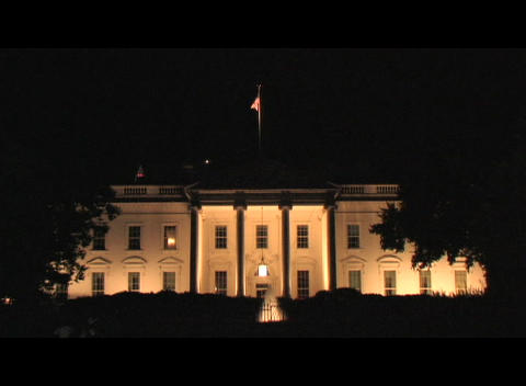 Long-shot of the White House at night Footage