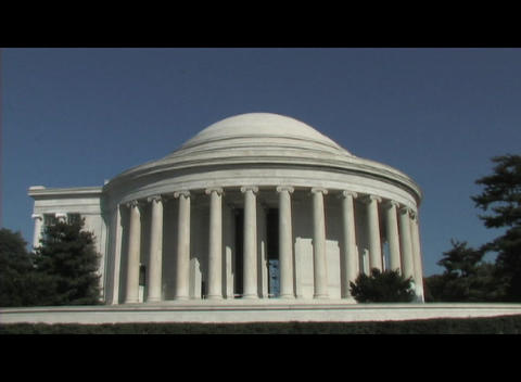 Long-shot of the Jefferson Memorial in Washington DC Footage