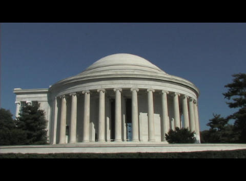 Long-shot of the Jefferson Memorial in Washington DC Live Action