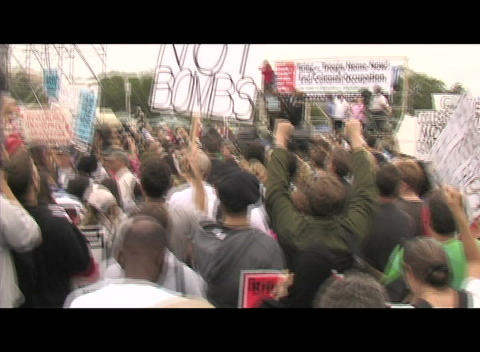 Hand-held-shot of an anti-Iraq-war rally in Washington DC Footage