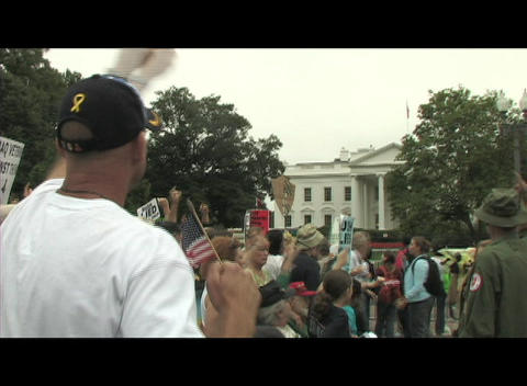 Hand-held-shot of anti-Iraq war protestors demonstrating... Stock Video Footage
